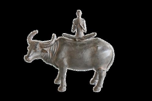 Yoga man on buffalo Figurine Woodka Interiors