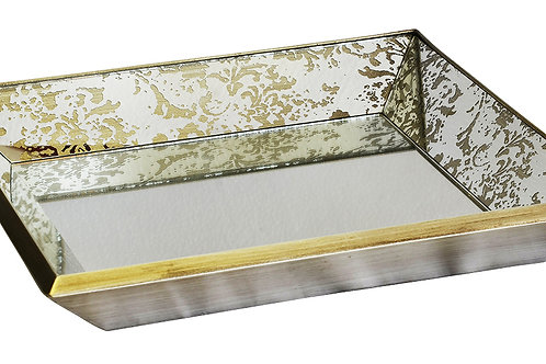 Large Glass Square Mirror Tray