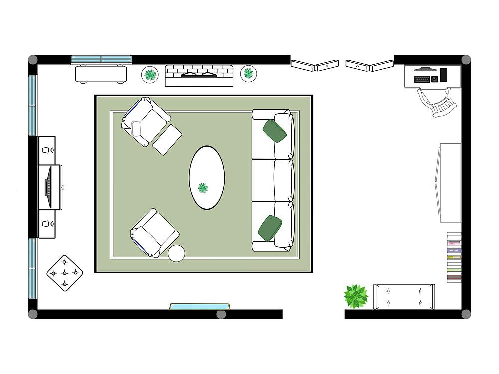 Formal living room floor plan. Easy way to decorate your living room with a detailed floor plan