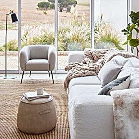 Stools, throws and home decor at Woodka Interiors