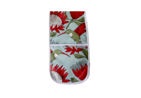 Joined Oven Gloves: Protea Blue