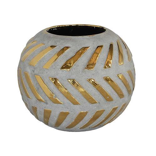 Gold Drip Nugget Ball Vase: Grey/Gold Small