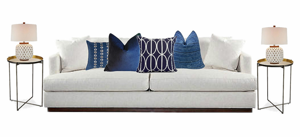I mixed together velvets in blue with a bold geometric print and added a beautiful vintage indigo stripped and indigo cotton throw pillow.