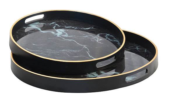 Glass Tray - Black Marble