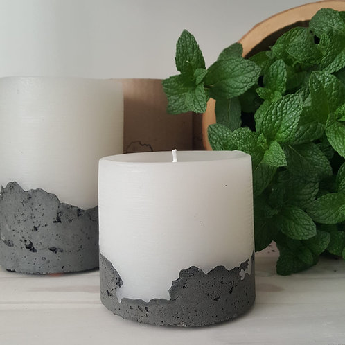 Handcrafted  Concrete based Candle - Sandalwood - Short