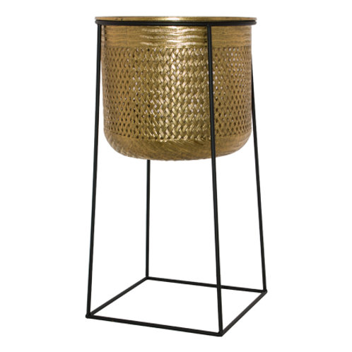 Gold Metal Pot Planter in Stand 63cm