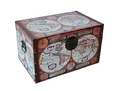 world map storage trunk Woodka Interiors