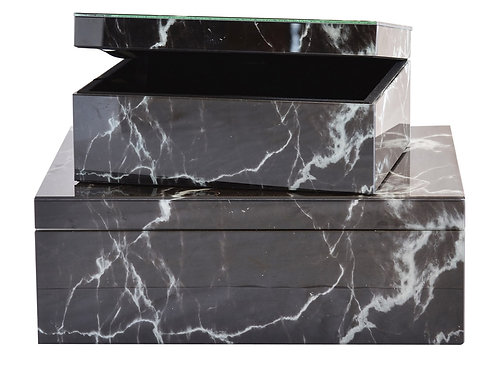 Decorative Glass Box Black Marble