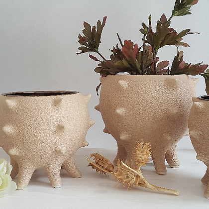 Ceramic spiked planter pot woodka interiors