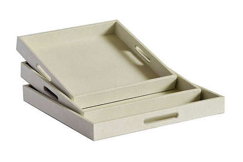 Textured Square Serving Tray -Cream- 3 sizes