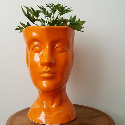 decorative face pot planter orange