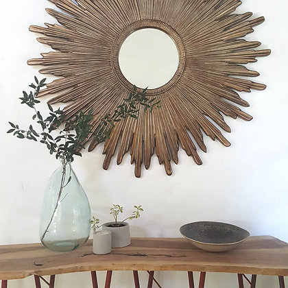 Round Wooden Sunburst Mirror - 110cm