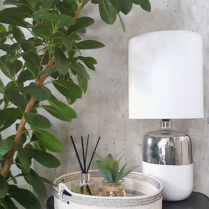 Table Lamp white and silver with lamp shade