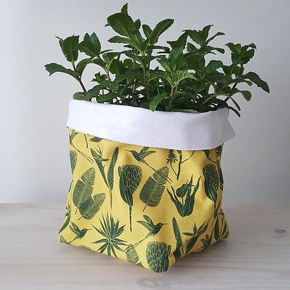 aLove Supreme Fabric Soft Pots Botanicals Green on Yellow