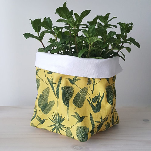 aLove Supreme Fabric Soft Pots Botanicals Green on Yellow