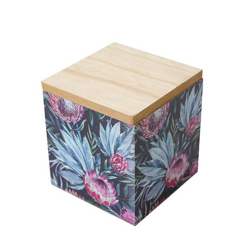 Square Wooden Box with Lid, Dark Protea Print