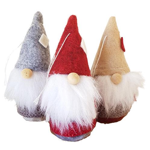 Tree Ornaments set of 3 Felt Santas