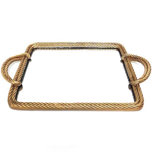 Gold Rope Serving Decor  Mirror Tray Woodka Interiors