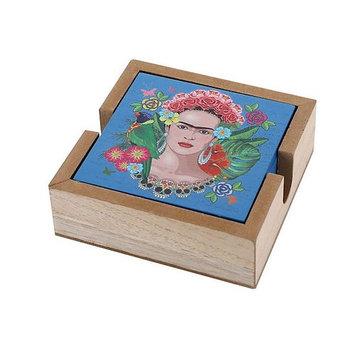 wooden box with 6 coasters- woodka interiors