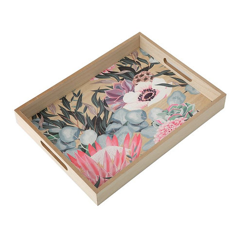 Wooden Tray- King Protea Print 40cm- Woodka Interiors