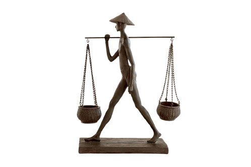 Chinese Man Statue -Holding Basket Figurine