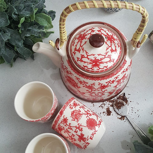 Tea Pot set with 4 cups - Red Chamber Design