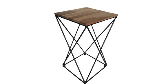 Acacia Wooden Top Side Table -Metal legs