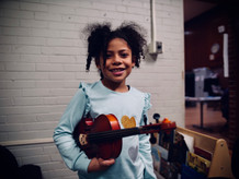 Jazzy and her new violin!