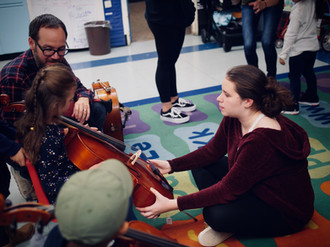 Elizabeth testing the cello