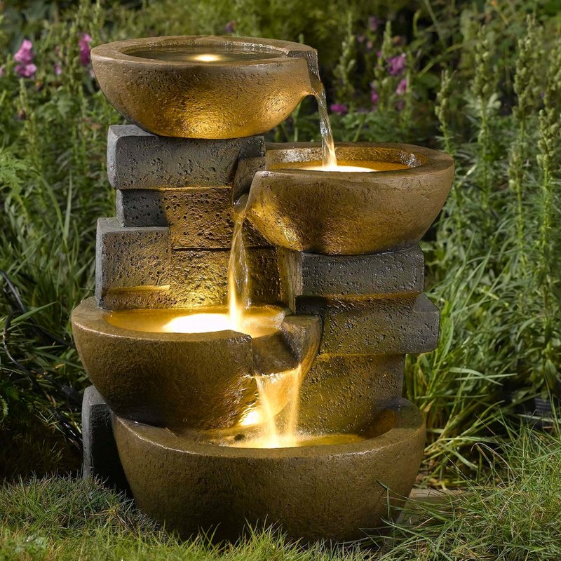 Resin-Fiberglass+Zen+Tiered+Pots+Fountain+with+LED+Light