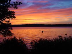 kayaking into the sunset