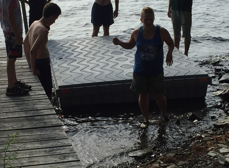 Swimming Float adds to the Experience at Sunset Cabins, Maine