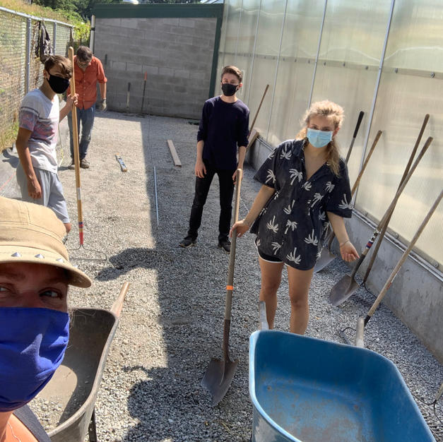 Aaron, Jessica, and students Prepping Cistern Pad Area, August 2020