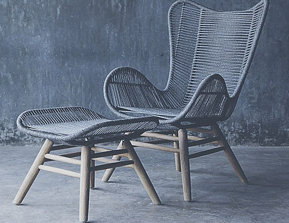 King Lounge Chair with Footstool (Available Immediately)