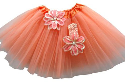 T208L Girls'  Tutu with Head Band and Flower