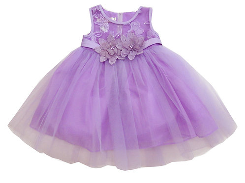 85-05L Girls' (4-14) Tulle  Embroidered  Dress