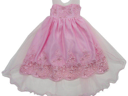 84-600T Toddler Girls' Organza Embroidered  Dress