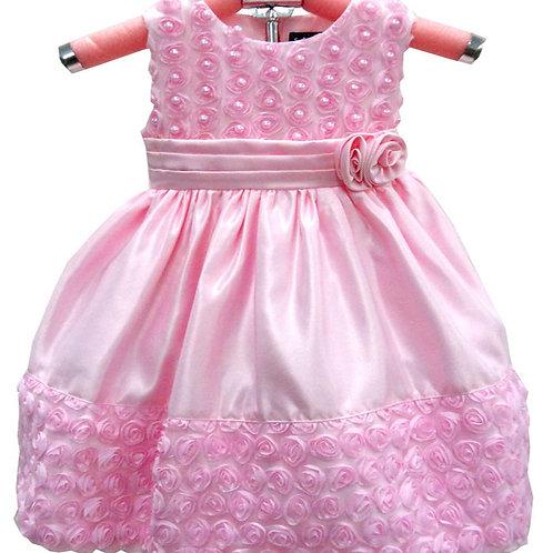 63-114X Girls' (4-6X) Satin Embroidered Beaded Dress