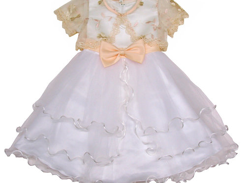 94-407T Toddler Girls' Tulle Dress With Embroidered Bolero