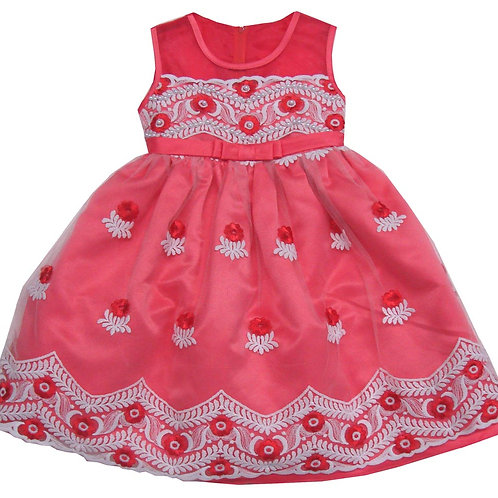 85-207X Girls' (4-6X) Tulle  Embroidered  Dress