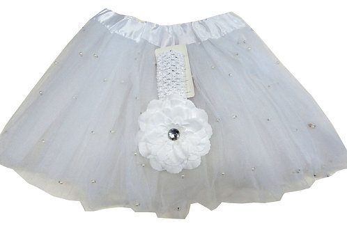 T892L  Girls' Pearl Tutu with Head Band and Flower