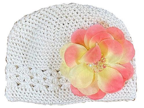 T106 Girls' Ivory Crochet Hat