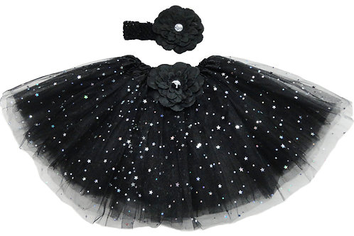 TW125LBK  Girls' star Tutu with Head Band and Flower