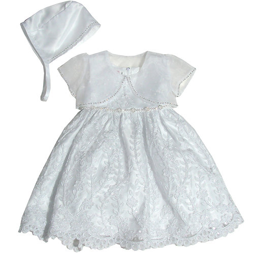 94-500 Elegant Bridal Satin Christening Gown with Organza Bolero and Bonnet
