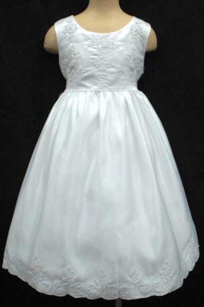 02-941 Girls' Embroidered Satin Flower Girl & Communion Dress