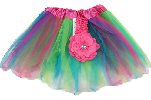 T7666  Girls'  Tutu with Head Band and Flower