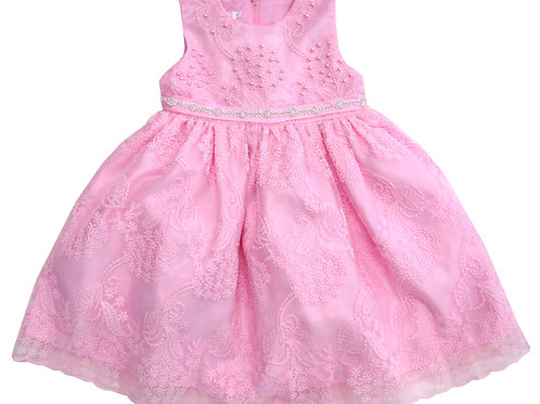 94-414X Girls' (4-6X) Tulle  Embroidered  Dress