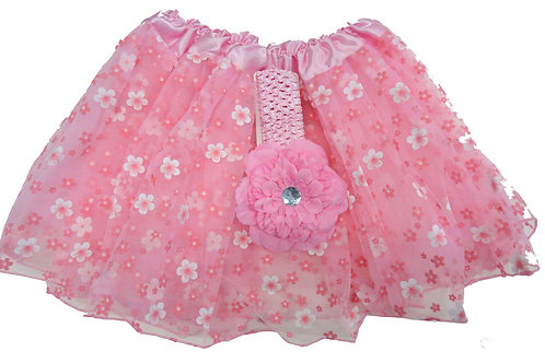 T895  Girls' Flower Tutu with Head Band and Flower