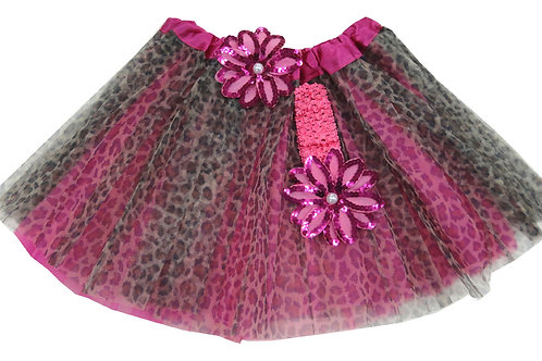 T210L Girls' Cheetah Tutu with Head Band and Flower