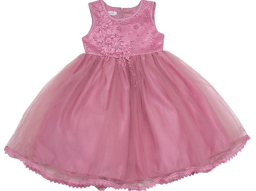 94-413X Girls' (4-6X) Tulle  Embroidered  Dress
